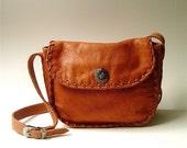 Boho vintage Rust Orange Leather Purse