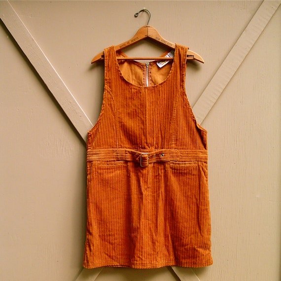 vintage Rust Brown Corduroy Mini Dress