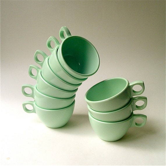 vintage Mint Green Melmac Prolonware Coffee Cups