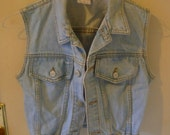 Vintage 1980s Bongo Denim Vest- Free Shipping in the US and Canada