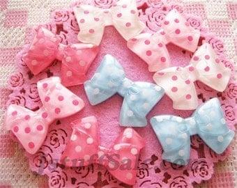Polka dot bow cabochons 8 pcs mixed color (A110)