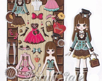 Qlia Dolly Dolly dress-up doll sticker sheet Chocolate