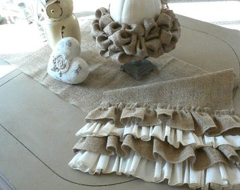 Cottage Chic  Burlap Table Runner with Ruffles