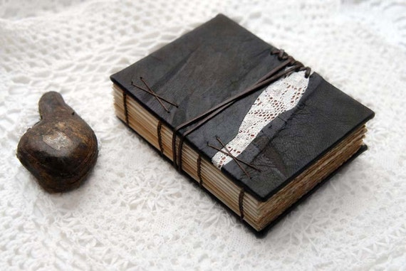 Reminiscence - Dark Brown Leather & Lace Journal with Tea Stained Pages