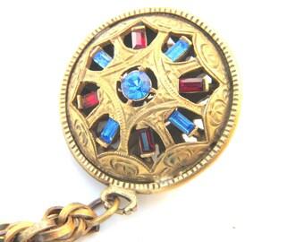 Vintage Bracelet Blue Red Rhinestones Gold tone Charm