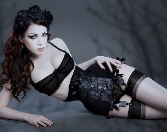 MF1345 Raschel lace powermesh longline underbust corset