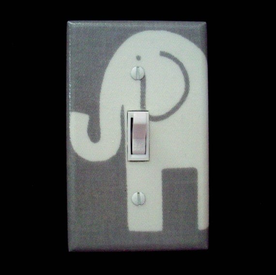 Gray Elephant Light Switch Plate Cover By Cathyscraftycovers