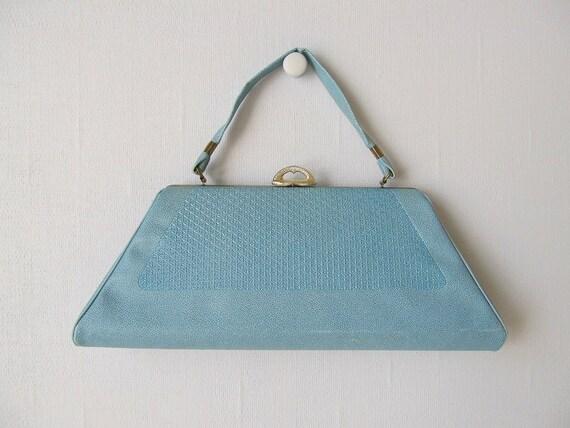 1960s Handbag / Blue Handbag /  60s mod Purse / Winsome