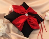 Knottie Ring Bearer Pillow with Rhinestone Accent...You Choose the Colors....BOGO Half Off..shown in black/red