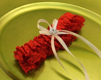 Lovely Vintage Style Red Lace Garter with Vibrant Rhinestone Accents...You Choose the Bow Color