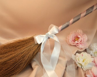 Classic Jump Broom Made in Your Custom Colors with Rhinestone Accent ..shown in pale pink/silver gray