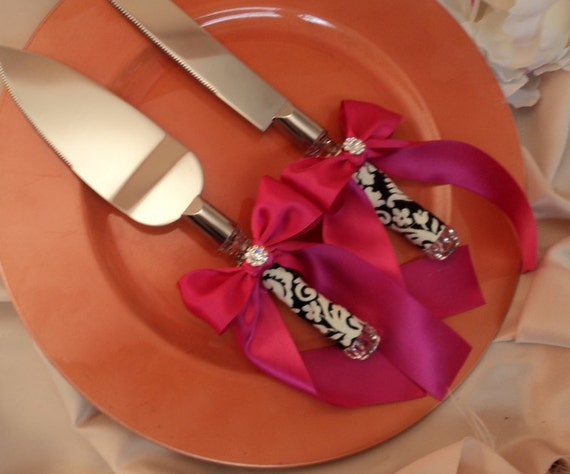 Waverly Black/Ivory Damask Cake Server Set with Rhinestone Accent ..You Choose The Bow Colors..shown in dark fuschia pink