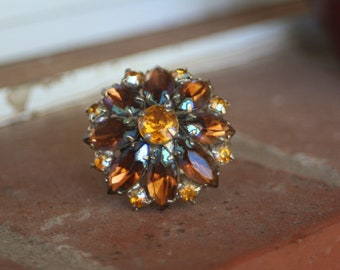 R28 Upcycled Amber Brown Crystal AB Flower Rhinestone Adjustable Cocktail Ring