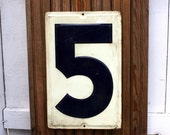 Vintage Embossed Tin Gas Station Sign Number Five