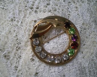 Vintage Goldtone and Colorful Rhinestone Circle Pin 12 K GF