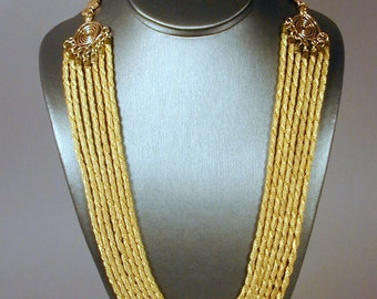 SALE ITEM.  7-Strand Nested Round Brass Mesh Necklace