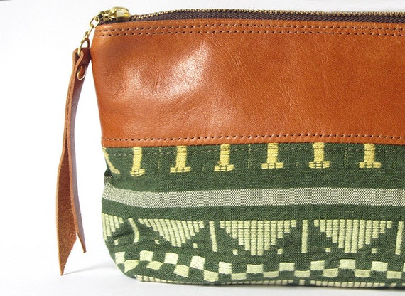 9-inch Zipper Pouch: vintage tapestry and eco leather