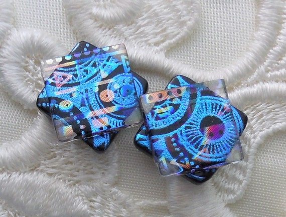 Dichroic Glass, Post Earrings, Glass Earrings, Dichroic, Bead Earrings, Stud Earrings, Blue Earrings X1784
