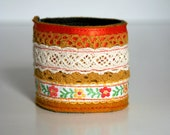 Reserved for Amber Yellow Vintage Ribbon & Button Cuff