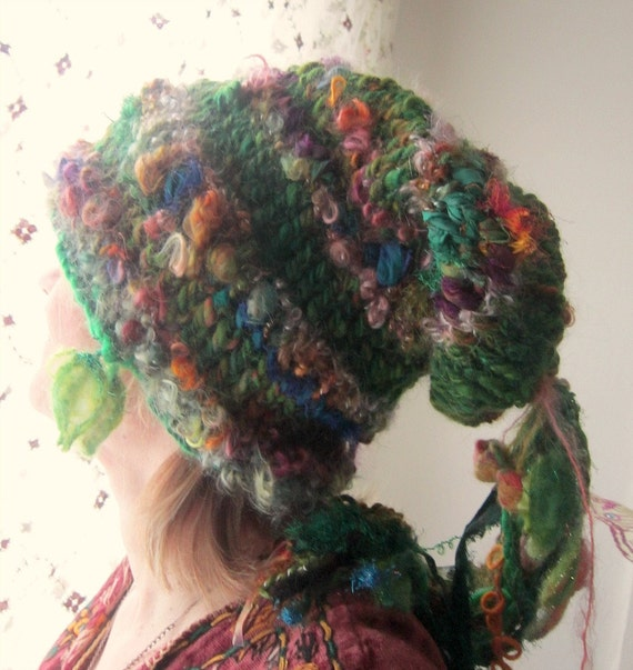 rustic, soft and warm handknit  slouchy fairy hat -  autumn forest wanderer