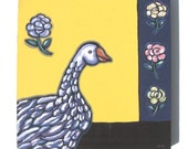 Goose Painting, original acrylic, SALE, French Country, Impressionist, bird, pet lover, animal, flowers, yellow, whimsical