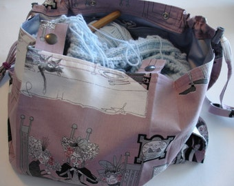 KNITTING BAG APRON - Ready To Sew - Alexander Henry 2010 Ghastlie Night Knitters in Mauve - Allow 2-3 weeks for delivery