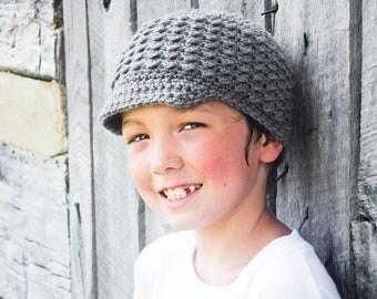 Crochet Newsboy Hat for Kids, Children's Hat with Visor, Crochet Boy's Autumn Hat, Gray, MADE TO ORDER