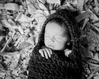 Baby Girl Unisex Newborn Hooded Cocoon Photography Props Black Infant Chunky Bunting MADE TO ORDER Baby Shower Gift