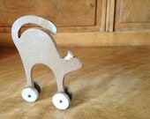 Ceramic Cat on Wheels for Your Home - Home Decor