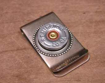 Shotgun Casing Jewelry - Bullet Jewelry - Gift for Guy - Silver 20 Gauge Money Clip - Groomsmen Gifts