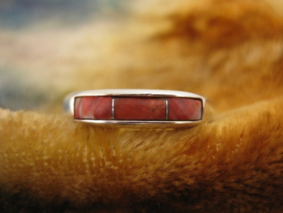 Ring - Size 9 - Sterling Silver - Carolyn Pollack - Relios - Tri Stone - Red Coral - Ring Band - Inlay Stone - Women Promise Ring
