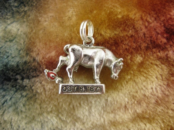 Charm - Pendant - Sterling Silver - 3D - Enamel - OCT 8 1871 - Chicago - Bull - Great Chicago Fire - Wells Sterling Hallmarks