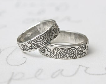 recycled silver wedding band set . scroll engraved once upon a time ring . recycled silver swirl wedding ring set by peacesofindigo