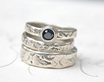 sapphire engagement ring and wedding band set . fair trade blue sapphire engagement ring . rustic river rock ring set by peacesofindigo