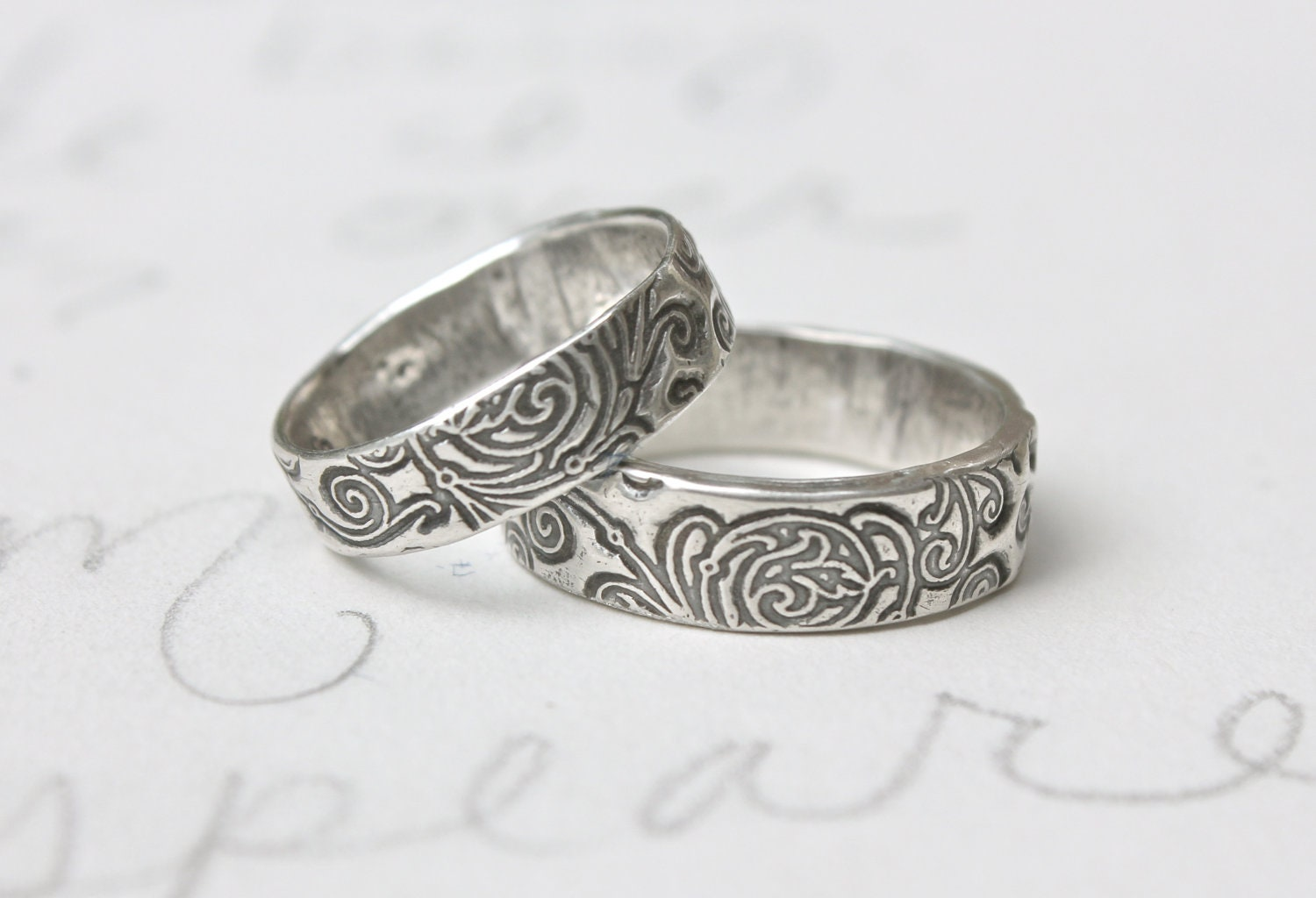 sle sale silver wedding band scroll engraved once upon