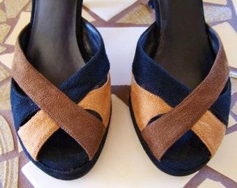 SALE, Peep Toe shoes, peep toe heels, Platform heels, Suede Heels, strappy heels, size 7, size 7.5