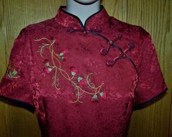 SILK Asian Dress Red Valentines day hostess dress size M / L