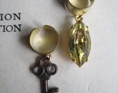 Ear Cuff Set- Vintage Jewel and Skeleton Key Ear Cuff