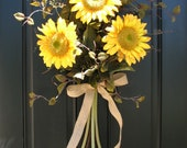 Sunflowers - Sunflower Bouquet - Front Door Decor - Summer Wreath - Summer Blueberries