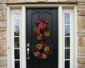 CHRISTMAS SALE Holiday Wreaths, Front Door Wreath, Christmas Decor, Hostess Gift, Wedding Decorations, Red and Green