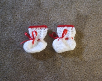 Hand Knitted - Whtie Baby Booties with Red  Trim