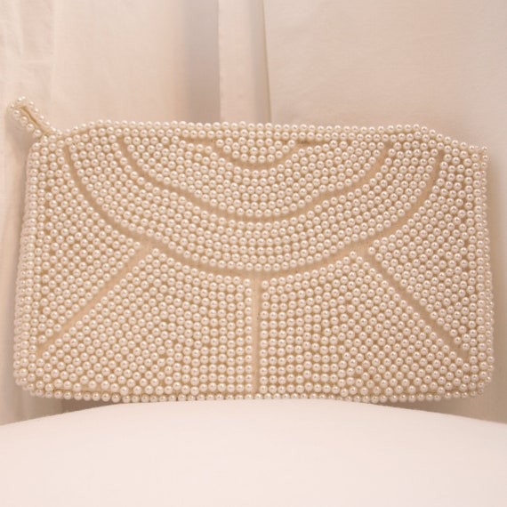 Vintage 1950s Pearl Beaded Clutch - perfect wedding clutch