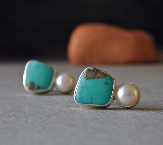 Turquoise Stud Earrings, Pearl Earrings, Morenci Turquoise w/ Pyrite, RESERVED for Marjorie