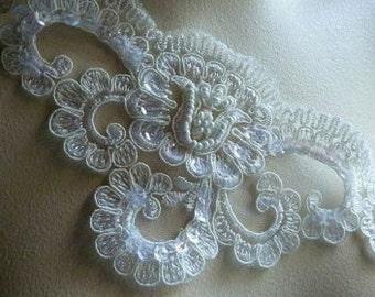 Ivory Cream Beaded Lace Applique for Lyrical Dance,  Bridal, Costume Design BRI 25