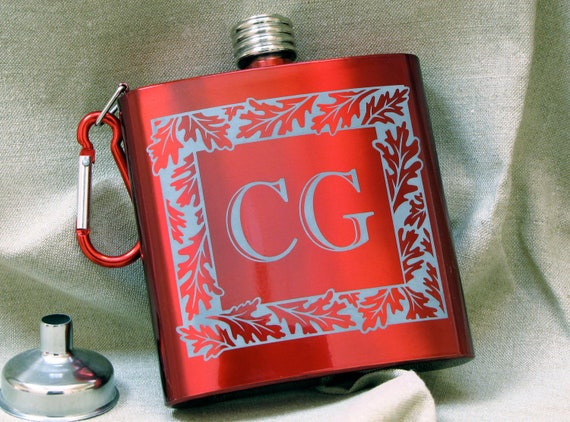 Red Monogrammed Flask, Personalized Christmas Present for Man, Groomsman Gift