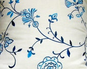 Embroidered Fabric 1 Yard Blue and White Floral - Waverly Home Decor