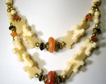 OxBone and Stone Necklace, Silvertone Metal, Carved Bovine Bone, Carnelian Red Agate Beads, Multi Strands ,Boho Hippie, 1970s Unused