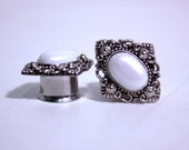 "Diamond Silver and Pearl Wedding Plugs 12mm 14mm 16mm 19mm 1/2"" 9/16"" 5/8"" 3/4"""