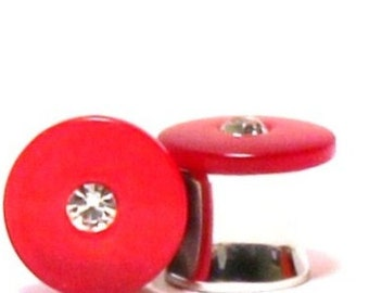 """Red Mother of Pearl and Crystal Plugs 0G 00G 7/16"""" 1/2"""" 9/16""""  8mm 10mm 11mm 13mm 14mm"""