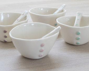 Porcelain Button Bowl & Spoon